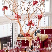 Wedding Centerpieces With Branches And Crystals Tall Branch