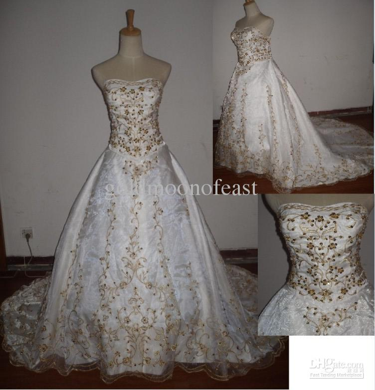 Ivory Wedding Dress With Gold Embroidery