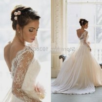 Wedding Dress With Lace Sleeves And Open Back Naf Dresses
