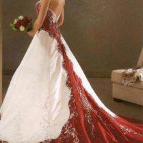 Wedding Dress With Red Belt