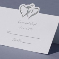 Wedding Place Cards Silver Double Hearts