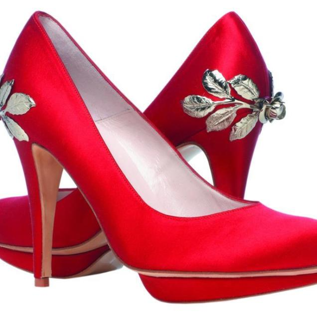 Wedding Shoes By Harriet Wilde Bridal Heels Red With Silver Leaves