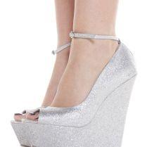 Wedding Shoes Silver Wedges – Dreamingsummit