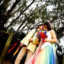 White And Rainbow Wedding Dress
