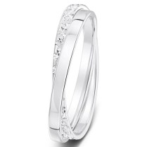 White Gold Russian Wedding Ring With Diamonds