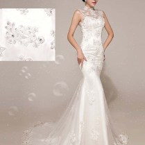 White Lace Stand Up Collar Trailing Mermaid Wedding Dress