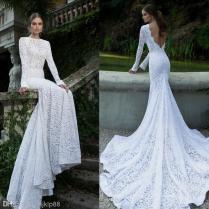 White Vintage Lace Bateau Ribbon Backless Mermaid Berta Bridal