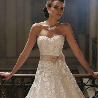 White Wedding Dress With Hot Pink Sash