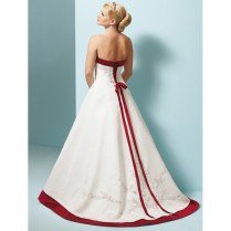 White Wedding Dress With Red Trim