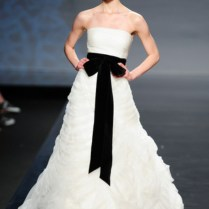 White Wedding Gowns With Black Accents