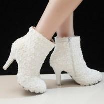 White Winter Boots Wedding
