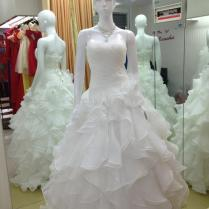Wholesale Discount Hot Sale Real Picture Organza Ruffle Wedding