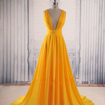 Yellow Prom Dresses,backless Prom Gown,open Back Evening Dress