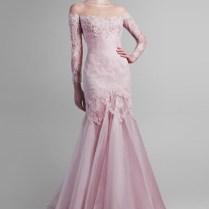 2015 Muslim Long Sleeve Pink Lace Wedding Dress Vintage Women