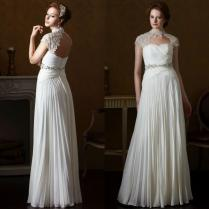 2015 Spring Beach Greek Goddess Wedding Dress Open Back Sheath