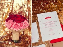 28 Red, Pink And Sparkle Gold Wedding Color Palette Ideas