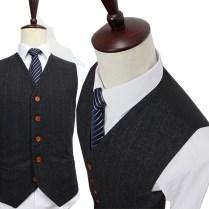 Aliexpress Com Buy Wool Dark Grey Herringbone Tweed Tailor Slim