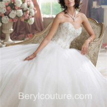 Ball Gown Strapless Glitter Tulle Applique Beaded Wedding Dress