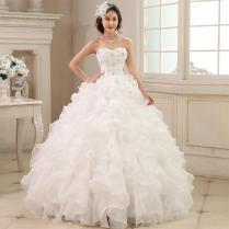 Beautiful Strapless White Wedding Dresses With Diamonds