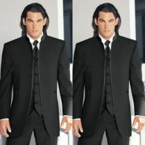 Best 2015 Classic Vintage Top Black Groom Tuxedos Stand Collar
