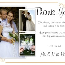Best Sample Wedding Thank You Cards With Photo Modern Designing
