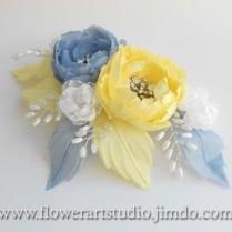Bridal Headpiece, Yellow And Blue