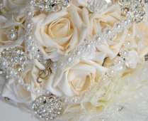 Brides Domed Wedding Bouquet In Cream Roses & Silver Diamante