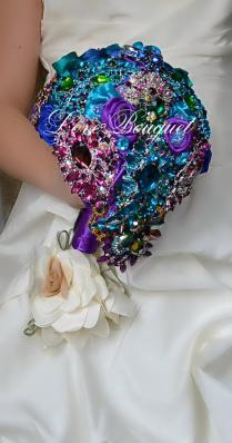 Brooch Bouquet, Unique Wedding Bouquet, Purple, Turquoise And Gold