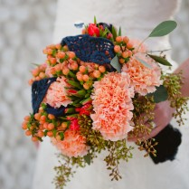 Carnation And Godetia Wedding Flowers