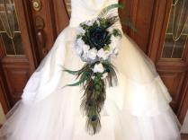 Cascading Peacock Bouquet, Teal Bridal Bouquet, Teal Peacock