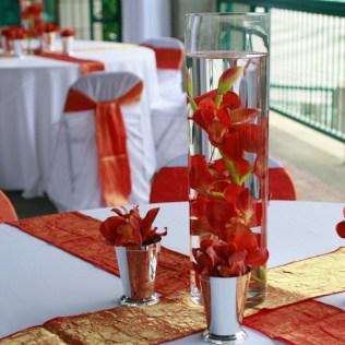 Coral Colored Water Vase Wedding Centerpiece