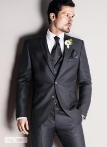 Dark Grey Mens Wedding Suits Notched Lapel Mens Suits 2015 Tuxedos