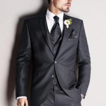 Dark Grey Mens Wedding Suits Notched Lapel Mens Suits 2015 Tuxedos
