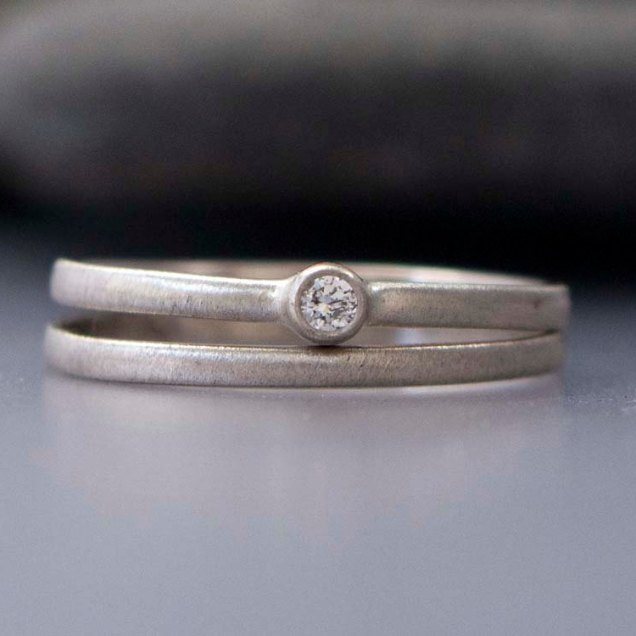 Diamond And White Gold Wedding Ring Set Tiny By Lichenandlychee