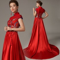 Embroidered Floral Sleeveless Mermaid Trailing Chinese Wedding