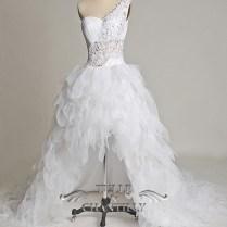 Fabulous One Shoulder High Low Wedding Dress With Feather Shaped