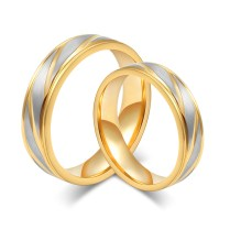 Fashion Men Wedding Rings 18k Gold Rings Stainless Steel Couple