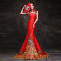 Floral Embroidered Asian Inspired Mandarin Collar Red Mermaid