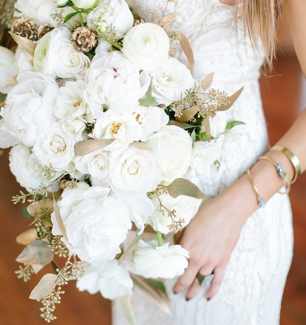 Gold And White Wedding Bouquets