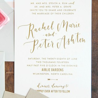 Gold Foil And Calligraphy Wedding Invitations
