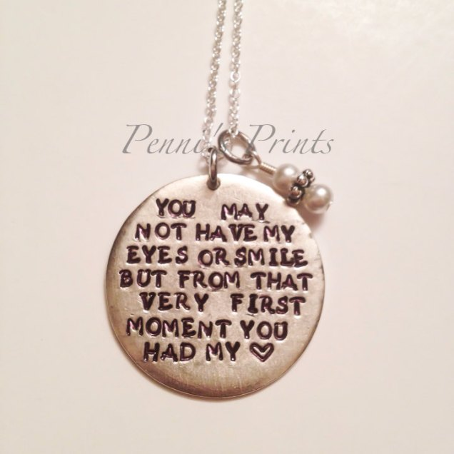 Hand Stamped Step Daughter Necklace Wedding Gift By Pennisprints
