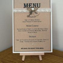 Handmade Personalised Rustic Style Wedding Table Menu Card