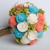 Handmade Wedding Bouquet, Sola Flower Bridal Bouquet, Turquoise