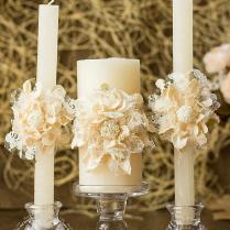 Ivory Wedding Unity Candles, Handmade Flower, Rustic Wedding Ideas