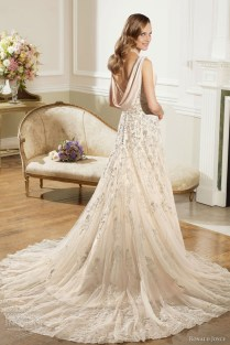 Lace Cowl Back Wedding Dress