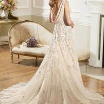 Lace Cowl Back Wedding Dress