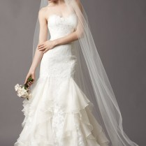 Lace Trumpet Strapless Wedding Dress With Ruffles Jswd0335