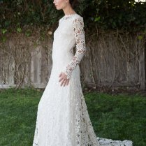 Low Back Crochet Lace Wedding Dress