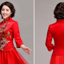 Mandarin Collar Embroidered Peony Floral Chinese Style Two Piece