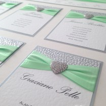 Mint And Silver Wedding Stationery Seating Chart